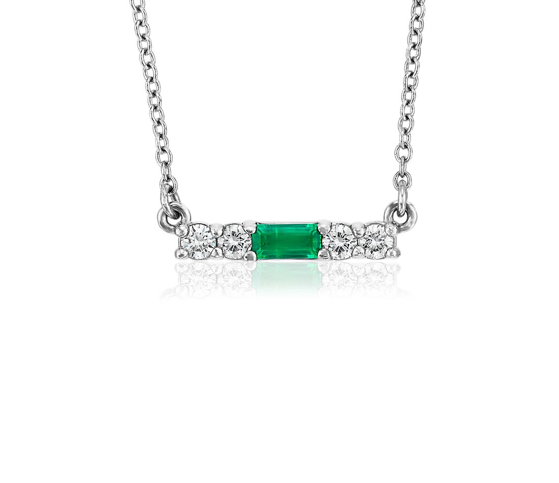 Petite Emerald and Diamond Bar Necklace in 14k White Gold (4x2mm)
