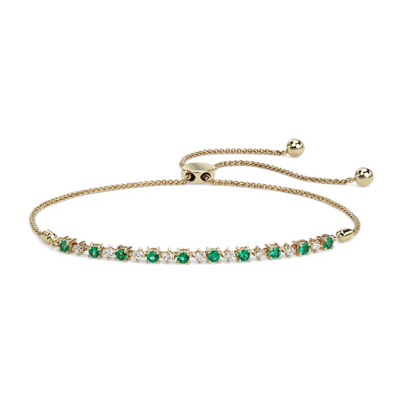 Petite Emerald and Diamond Bolo Bracelet in 14k Yellow Gold (2.2m