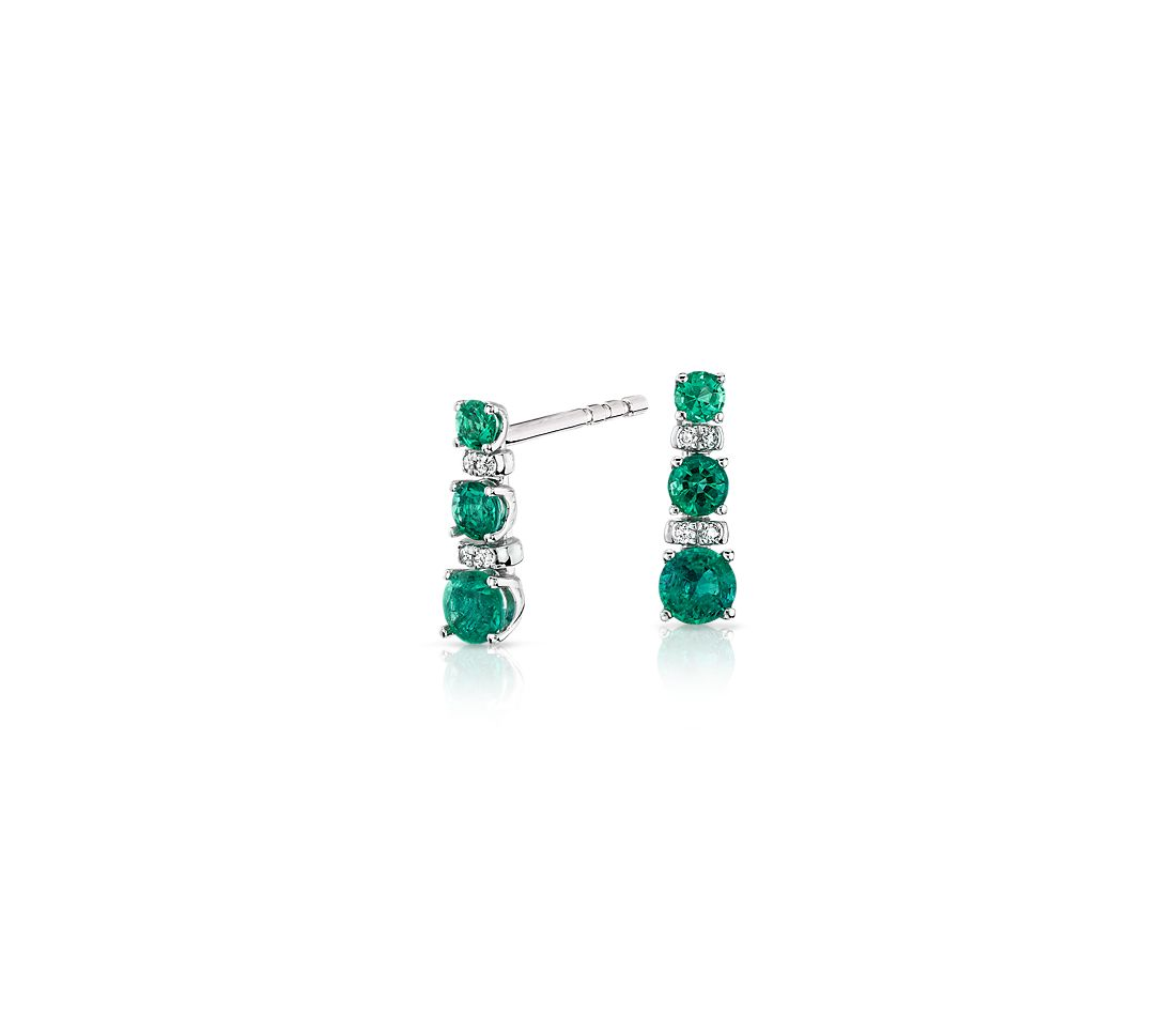 Petite Emerald and Diamond Tower Earrings in 14k White Gold