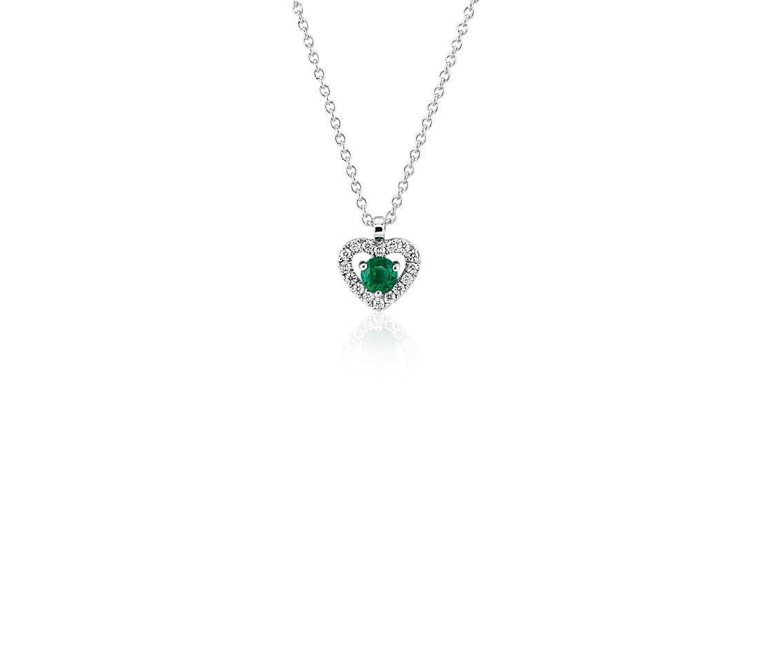 Petite Emerald and Diamond Pavé Heart Pendant in 14k White Gold (3mm)