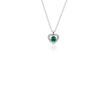 Petite emerald and diamond pav heart pendant in 14k white gold 3mm petite emerald and diamond pav heart pendant in 14k white gold 3mm aloadofball