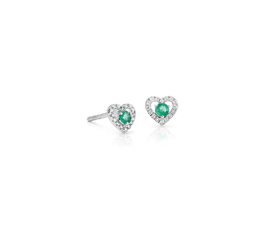 Petite Emerald and Diamond Pavé Heart Stud Earrings in 14k White Gold (2.5mm)