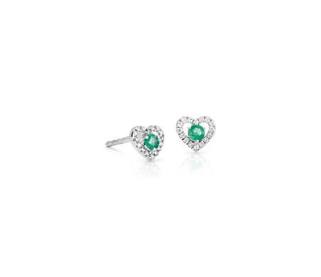 14k 白金 小巧綠寶石與鑽石密釘心形釘款耳環<br>( 2.5毫米)