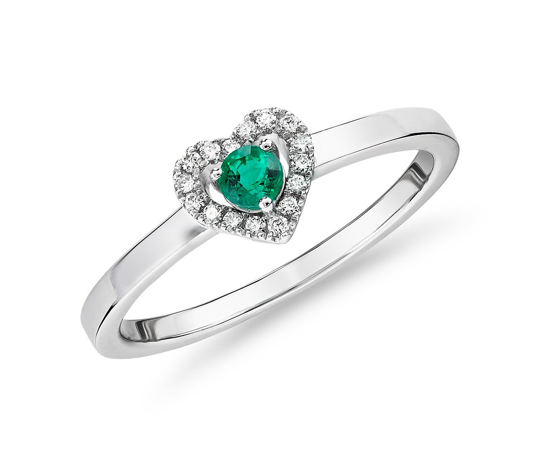 Petite Emerald and Diamond Pavé Heart Ring in 14k White Gold (3mm)