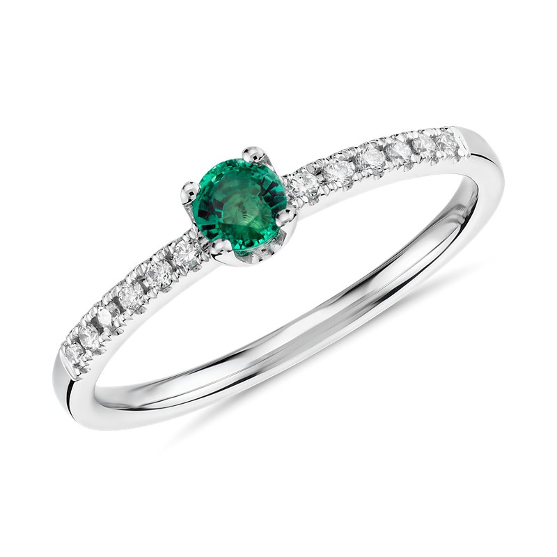 Petite Emerald Stacking Diamond Ring in 14k White Gold (3.5mm)