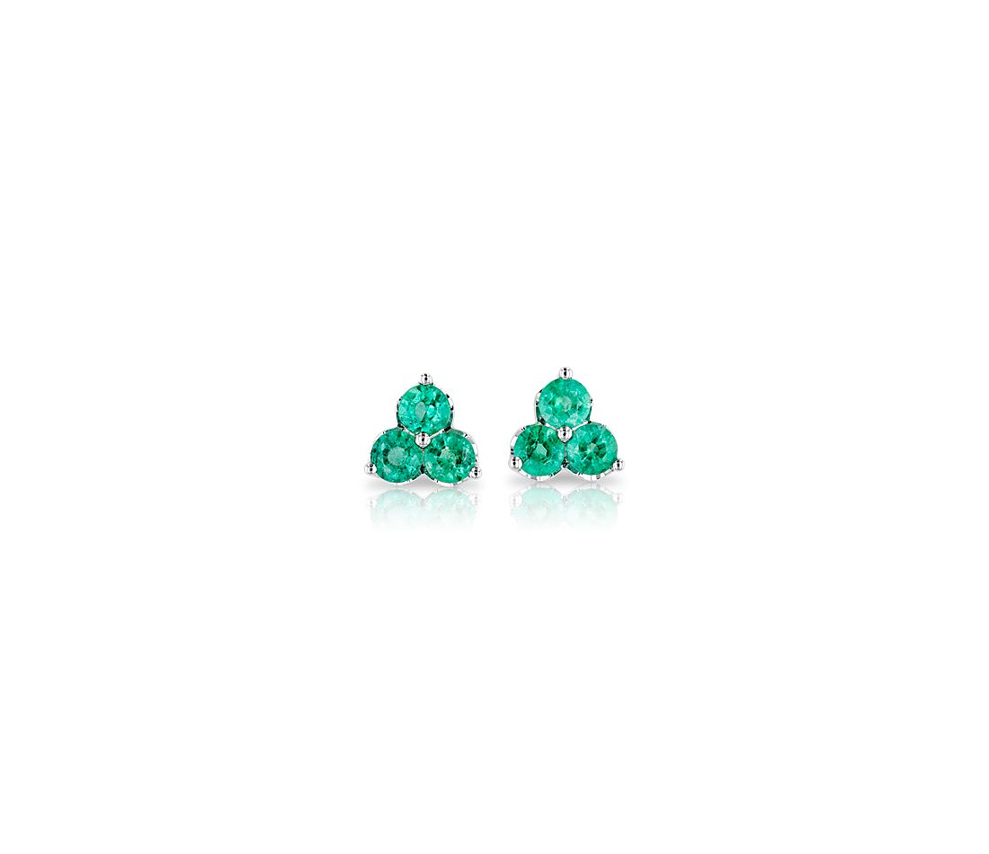 Petite Emerald Trio Cluster Earrings in 14k White Gold (2.6mm)