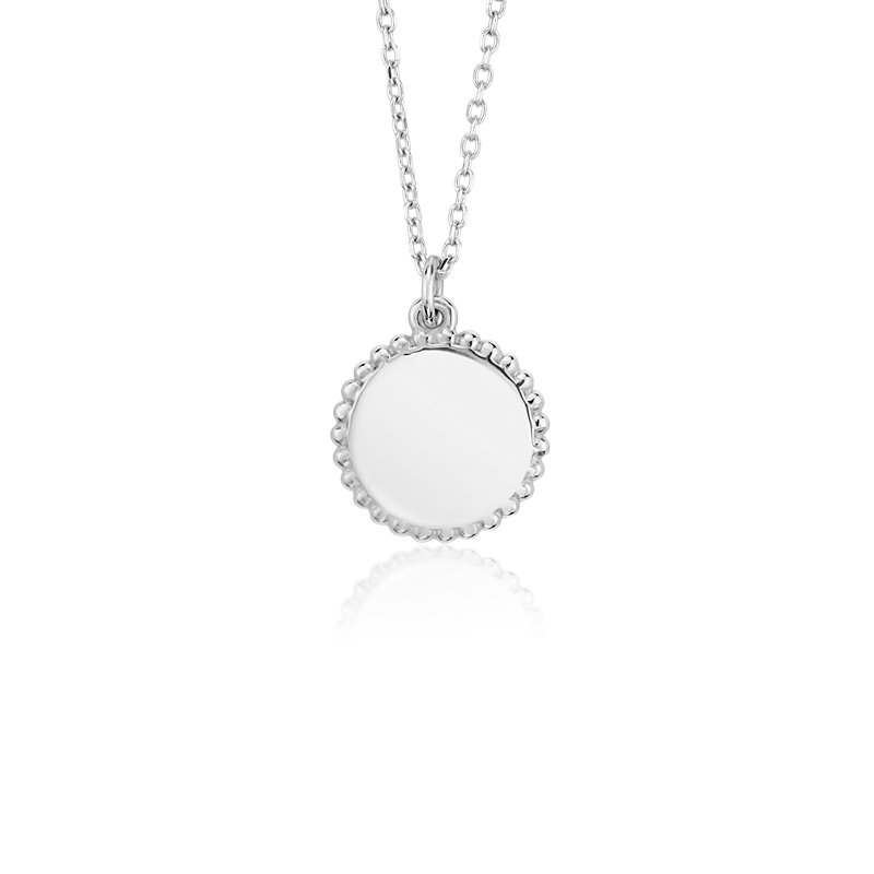 Petite Engravable Pendant in 14k White Gold