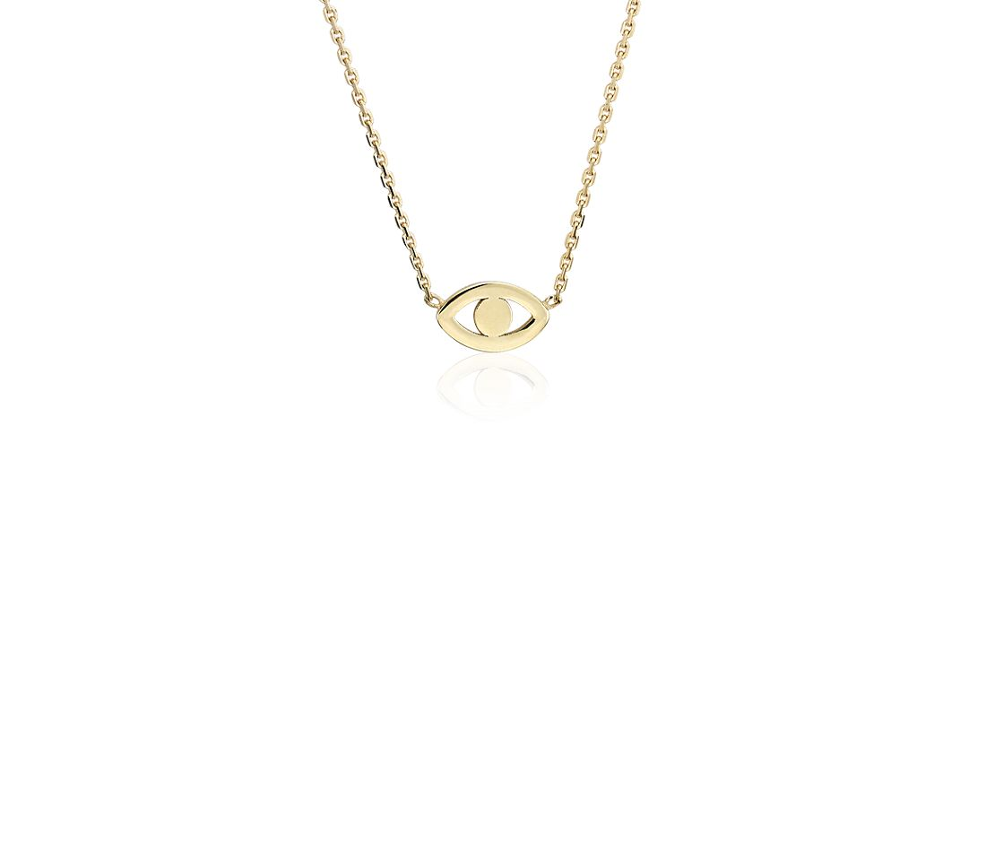 Petite Evil Eye Charm Necklace In 14k Yellow Gold Blue Nile