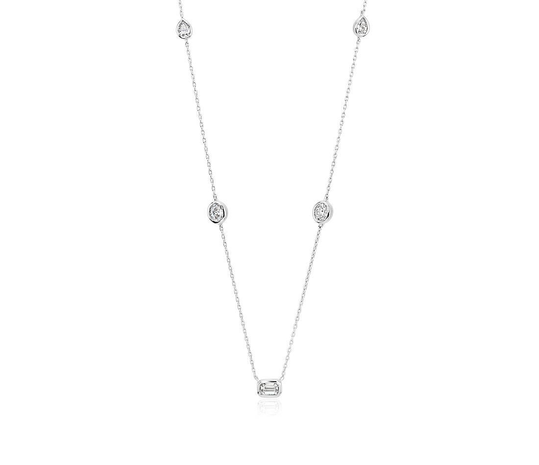 Petite Fancy Diamond Necklace in 14K White Gold (1/2 ct. tw.)