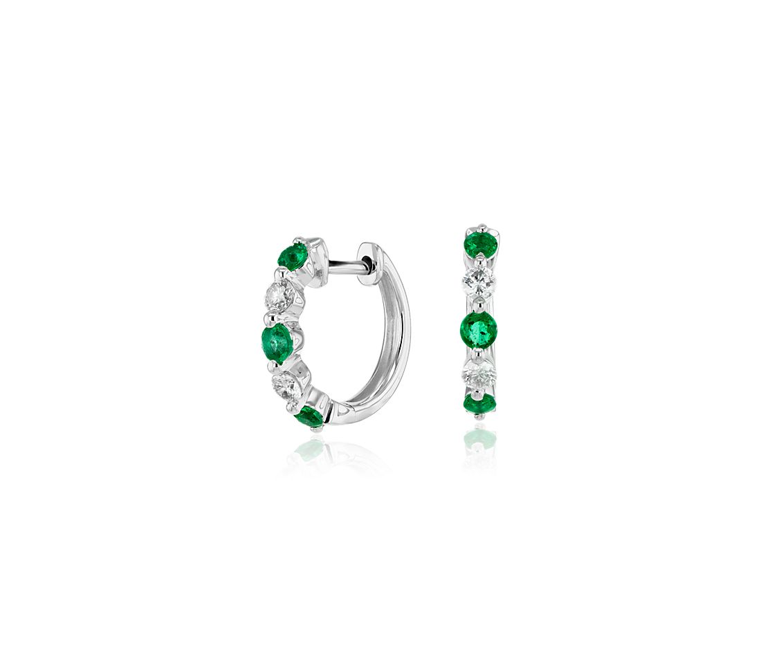 Petite Floating Emerald and Diamond Huggie Hoop Earrings in 14k White Gold