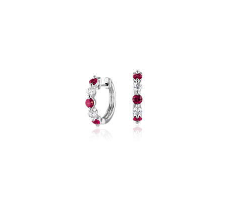 Petite Floating Ruby and Diamond Huggie Hoop Earrings in 14k White Gold