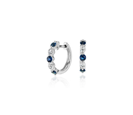 Petite Floating Sapphire and Diamond Huggie Hoop Earrings in 14k White Gold