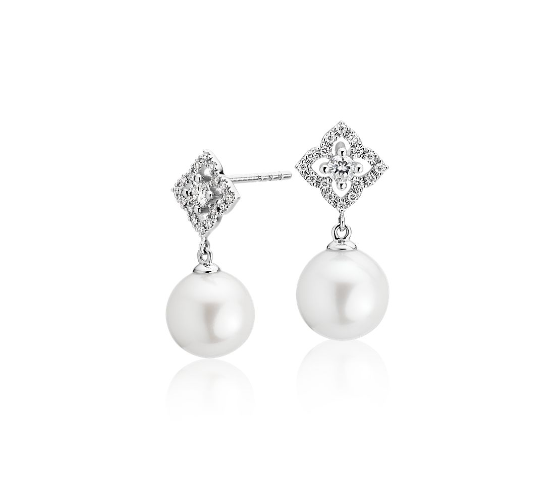 Petite Floral Freshwater Cultured Pearl and Diamond Earrings in 14k White Gold
