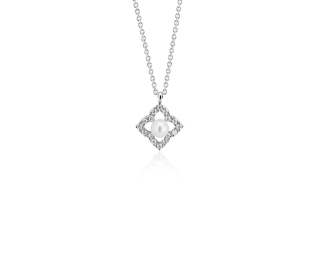 Petite Floral Freshwater Cultured Pearl and Diamond Pendant in 14k White Gold