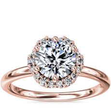 Petite Floral Halo Diamond Engagement Ring in 14k Rose Gold (1/10 ct. tw.)