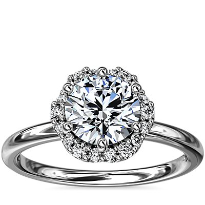 NEW Petite Floral Halo Diamond Engagement Ring in 14k White Gold