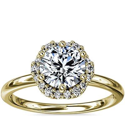 新款 14k 金小巧花卉光环钻石订婚戒指