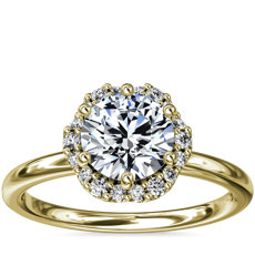 Petite Floral Halo Diamond Engagement Ring in 14k Yellow Gold (1/10 ct. tw.)