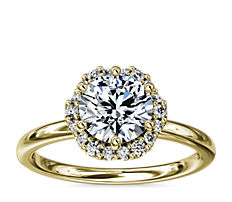 14k 金小巧花卉光环钻石订婚戒指(1/10 克拉总重量)