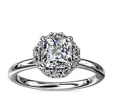 Petite Floral Halo Diamond Engagement Ring in Platinum (1/10 ct. tw.)