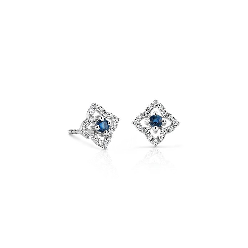 Petite Sapphire Floral Stud Earrings in 14k White Gold (2.4mm)