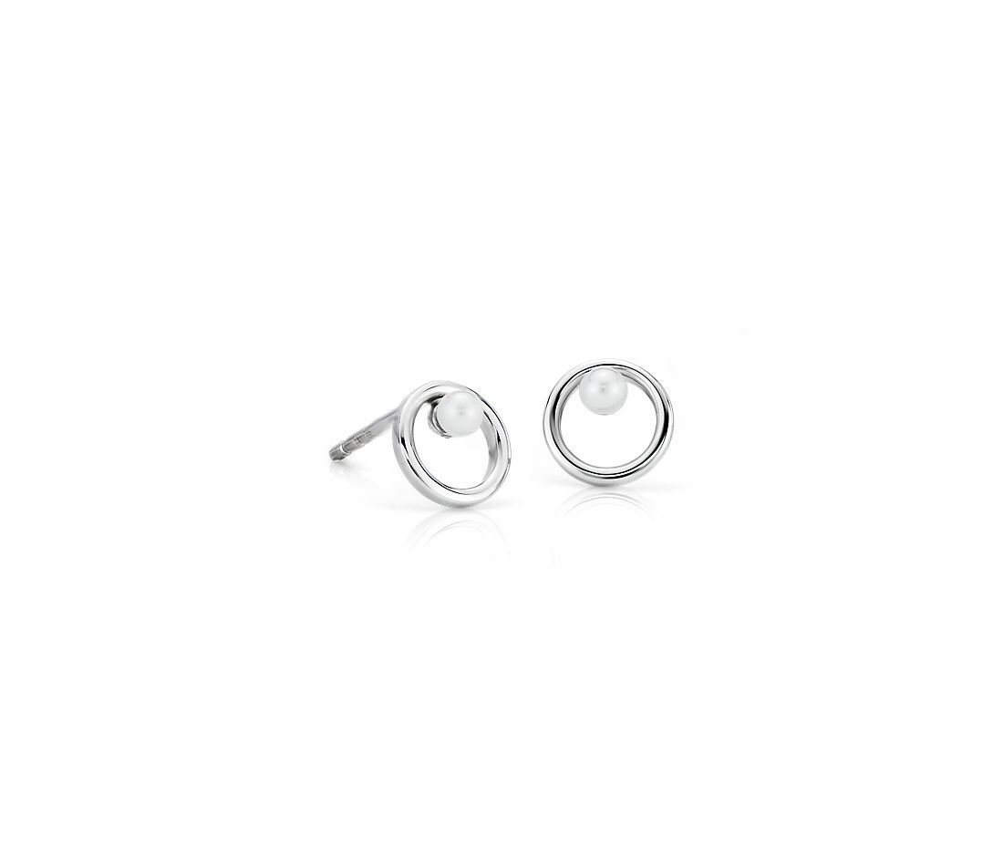 Petite Open Circle Freshwater Cultured Pearl Birthstone Earrings in 14k White Gold (2mm)