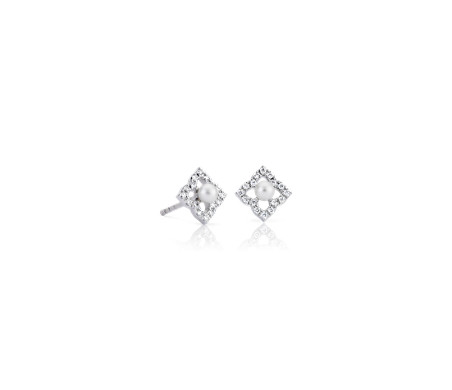 Petite Freshwater Cultured Pearl Floral Stud Earrings in 14k White Gold (2.4mm)