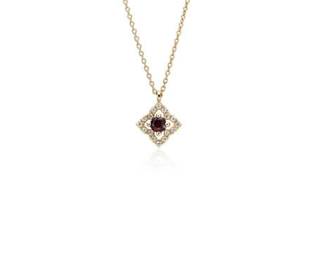 Petite Garnet and Diamond Floral Pendant in 14k Yellow Gold (2.8mm)