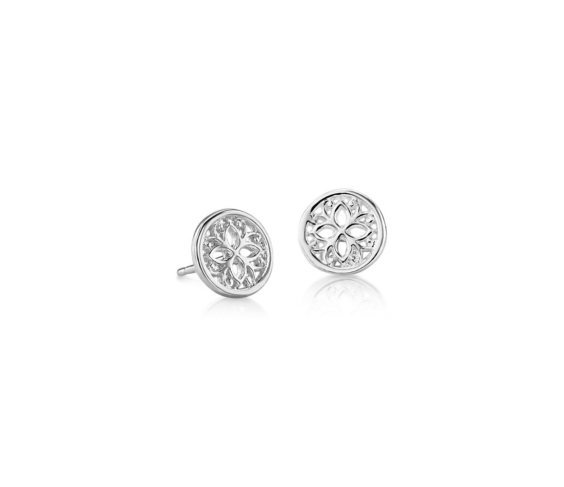 Pee Geometric Fl Stud Earrings In Sterling Silver