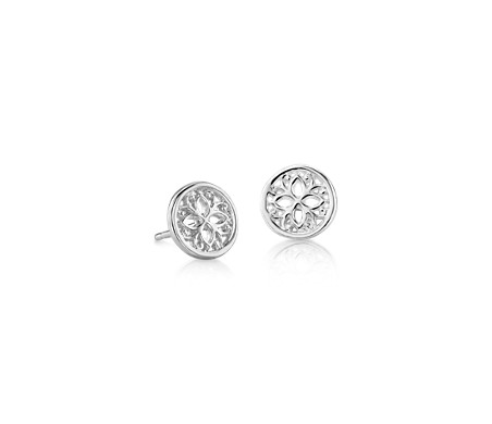 Petite Geometric Floral Stud Earrings in Sterling Silver