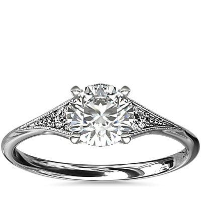 Heirloom Petite Milgrain Engagement Ring in 14k White Gold (0.06 ct. tw.)