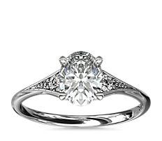 Petite bague de fiançailles diamant de famille millegrain en or blanc 14carats (0,06carat, poids total)