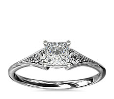 Heirloom Petite Milgrain Engagement Ring in 14k White Gold
