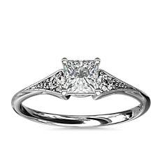 Heirloom Petite Milgrain Engagement Ring in 14k White Gold (0.06 ct. tw.)