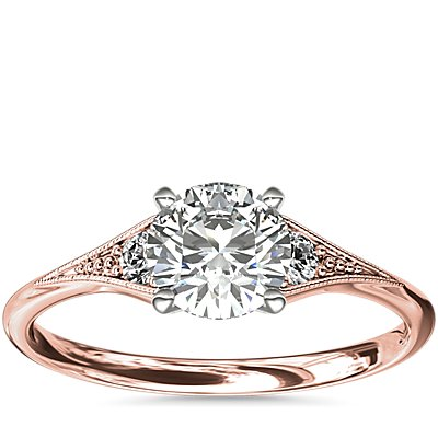 NEW Heirloom Petite Milgrain Engagement Ring in 14k Rose Gold