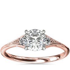 Heirloom Petite Milgrain Engagement Ring in 14k Rose Gold
