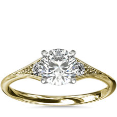 Heirloom Petite Milgrain Engagement Ring in 14k Yellow Gold