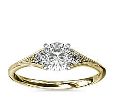 Heirloom Petite Milgrain Engagement Ring in 14k Yellow Gold