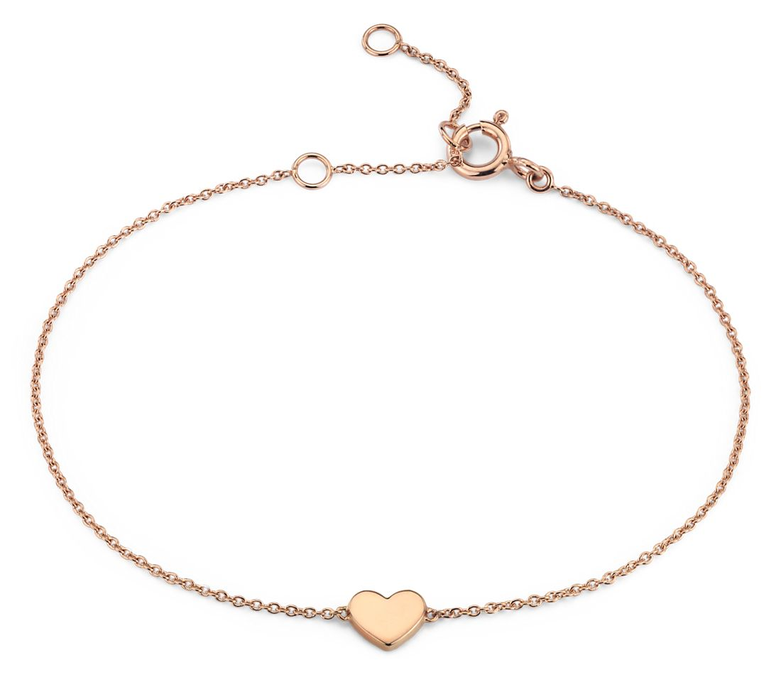 Petite Heart Bracelet in 14k Rose Gold (7 in.)