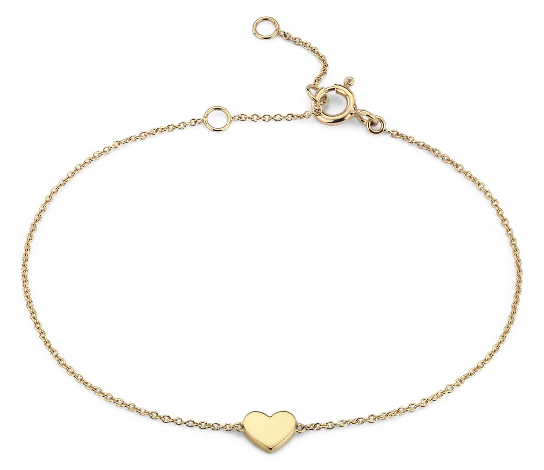 Petite Heart Bracelet in 14k Yellow Gold (7 in.)