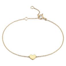 Brazalete con corazón pequeño en oro amarillo de 14k (17,78 cm)