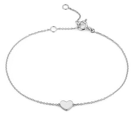 Petite Heart Bracelet in 14k White Gold