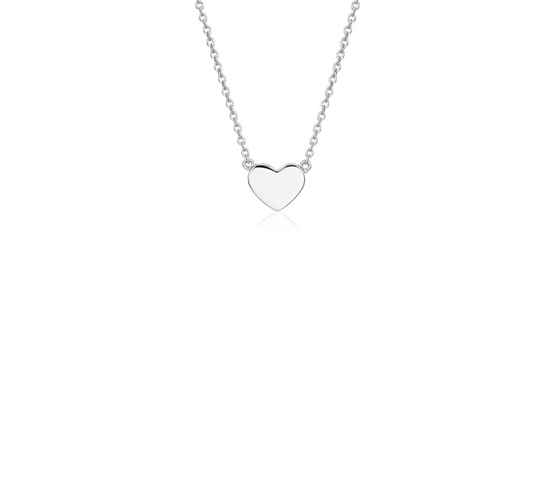 Petite Heart Necklace in 14k White Gold