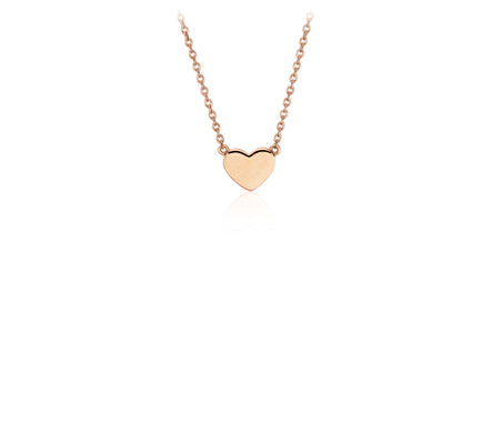 Petite Heart Necklace in 14k Rose Gold