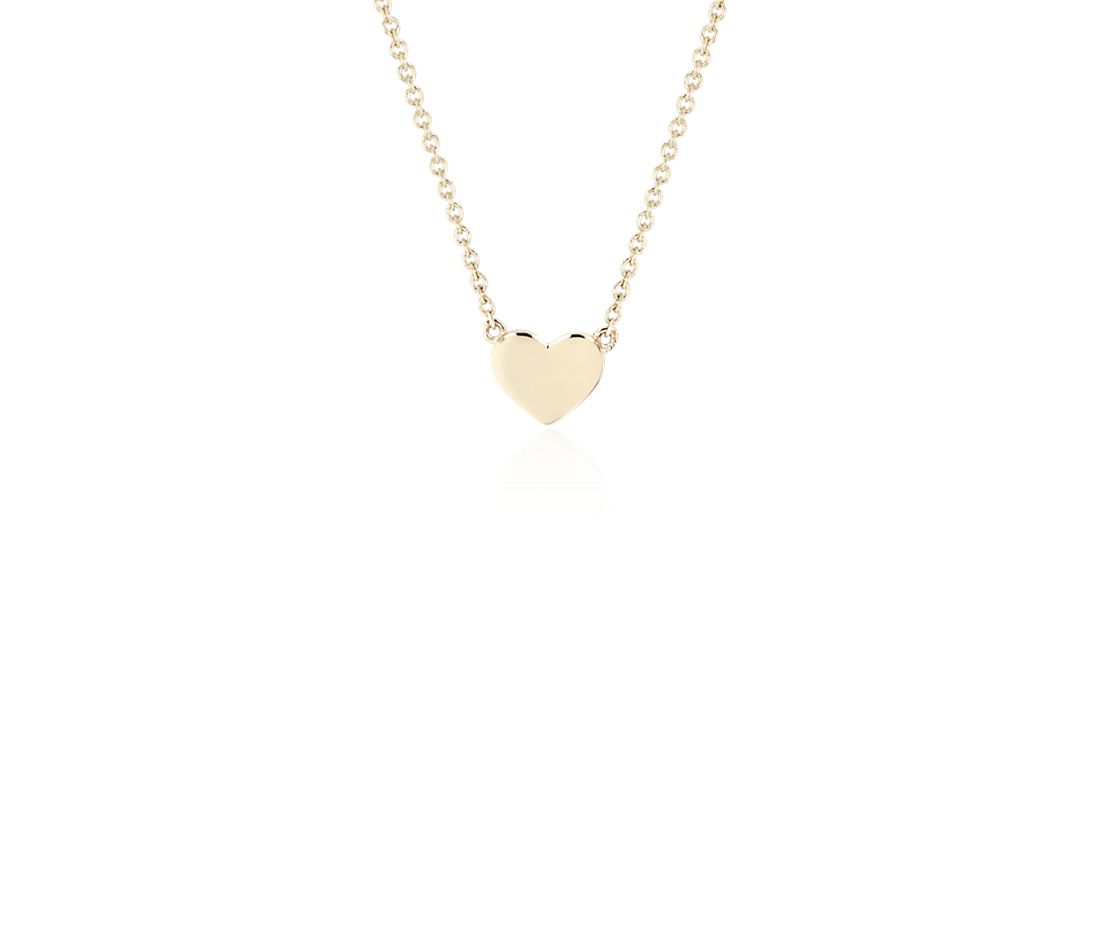 Petite Heart Necklace in 14k Yellow Gold
