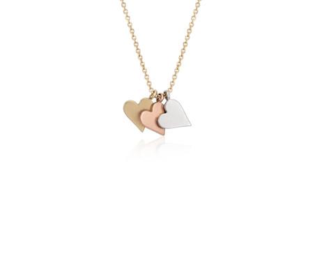 Colgante pequeño con forma de corazón en oro tricolor de 14k