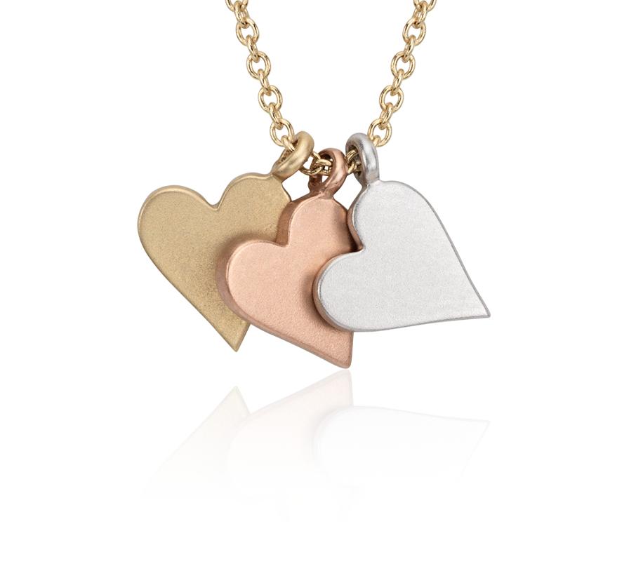 Pendentif cœur petite taille en or tricolore 14carats