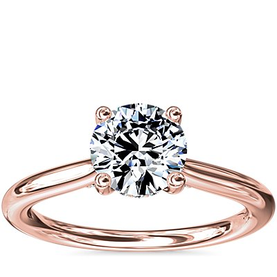 NEW Petite Hidden Halo Solitaire Plus Diamond Engagement Ring in 14k Rose Gold (1/10 ct. tw.)