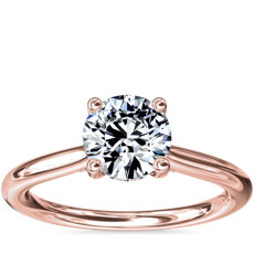 Petite Hidden Halo Solitaire Plus Diamond Engagement Ring in 14k Rose Gold