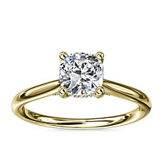 Petite Hidden Halo Solitaire Plus Diamond Engagement Ring in 14k Yellow Gold